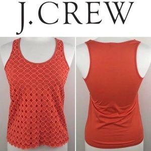J Crew | dot texture cut out tank, layered orange